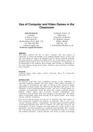 Use of Computer and Video Games in the Classroom - DiGRA