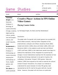 Game Studies - Creative Player Actions in FPS Online Video Games ...
