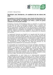 Ecologistas en Acción reclaman una  moratoria  y  la  auditoría  de  las  obras  del AVE