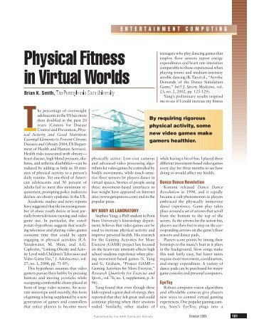 Physical Fitness in Virtual Worlds - Penn State Personal Web Server ...