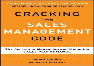 [+]The best book of the month Cracking the Sales Management Code: The Secrets to Measuring and Managing Sales Performance  [FULL]