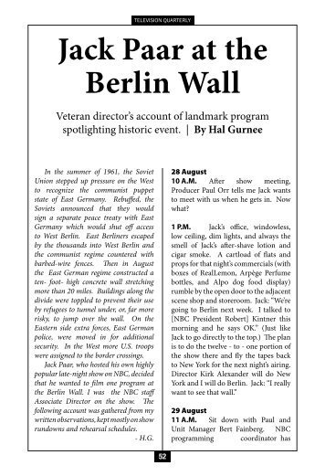 Jack Paar At The Berlin Wall - Television Quarterly