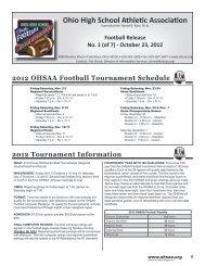 Football Release No. 1 - Ohio High School Athletic Association