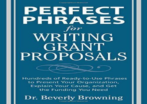 Pdf Top Trend Perfect Phrases For Writing Grant Proposals Perfect