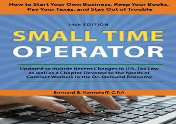[+]The best book of the month Small Time Operator: How to Start Your Own Business, Keep Your Books, Pay Your Taxes, and Stay Out of Trouble  [NEWS]