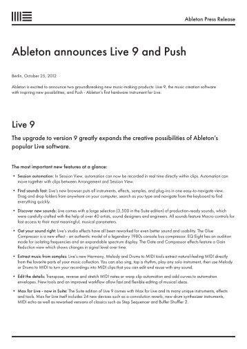 Ableton announces Live 9 and Push