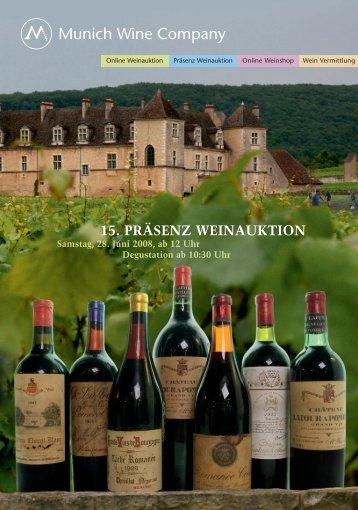 15. präsenzauktion erlesener weine - Munich Wine Company