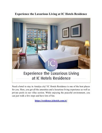 Experience the Luxurious Living at IC Hotels Residence
