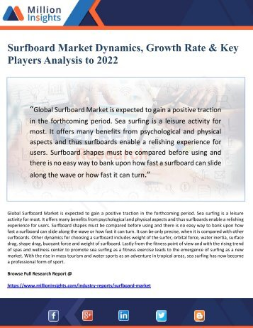 Surfboard Market Dynamics, Growth Rate & Key Players Analysis to 2022