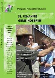 Gemeindebrief St. Johannis Aug Sept Okt 2018