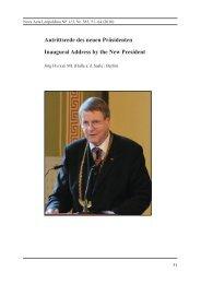 Antrittsrede des neuen Präsidenten Inaugural Address ... - Leopoldina