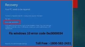 +1 800-582-2431 Fix windows 10 error code 0xc0000034
