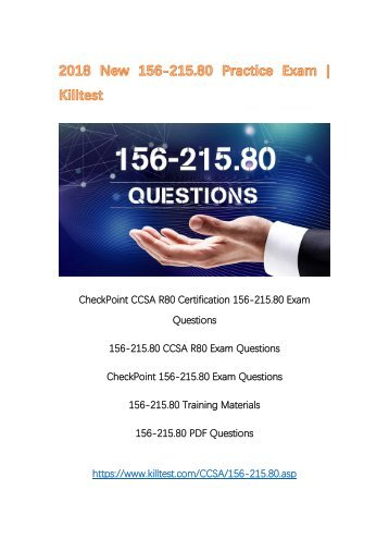 2018 New 156-215.80 CheckPoint PDF 156-215.80 Questions