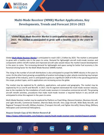 Multi-Mode Receiver (MMR) Market Applications, Key Developments, Trends and Forecast 2014-2025