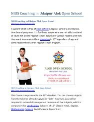 NIOS Coaching in Udaipur Alok Open School