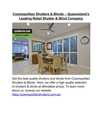 Cosmopolitan Shutters & Blinds – Queensland's Leading Retail Shutter & Blind Company
