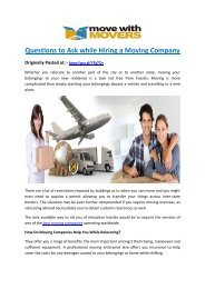 Questions to Ask while Hiring a Moving Company