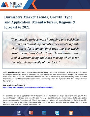 Burnishers Market Overview, Industry Top Manufactures, Market Size, Industry Growth Analysis & Forecast: 2021