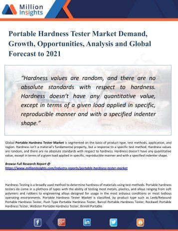 Portable Hardness Tester Market by Production, Import, Export and Consumption Forecast & Regional Analysis by 2021