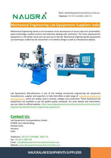 Mechanical Engineering Lab Equipments Suppliers India
