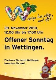 Offener Sonntag in Wettingen. - Handel- und Gewerbeverein ...