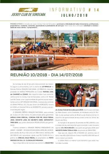 Informativo Jockey Club de Sorocaba #14 - Jul/18