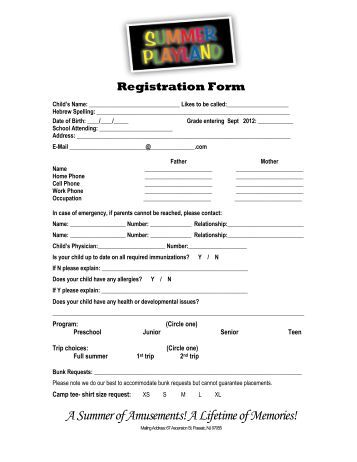 Registration Form - Camp Summer Playland in Passaic, NJ