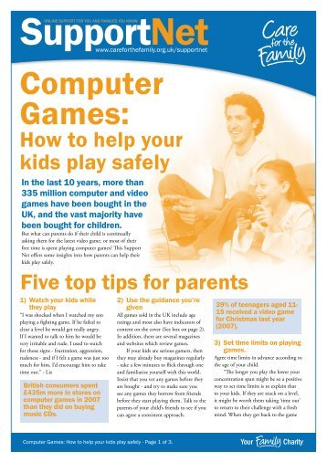 Support Net - Computer Games: How to help your kids play safely