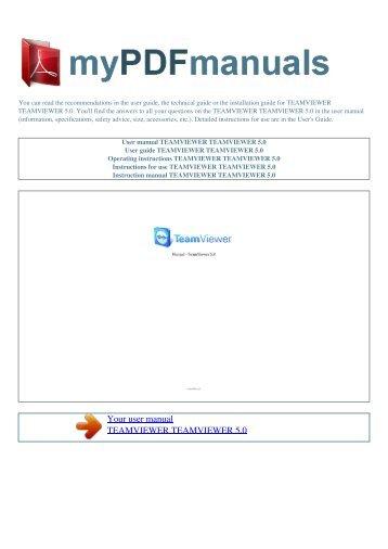 User manual TEAMVIEWER TEAMVIEWER 5.0 - MY PDF MANUALS
