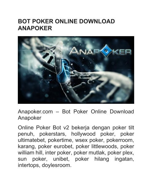 BOT POKER ONLINE DOWNLOAD ANAPOKER
