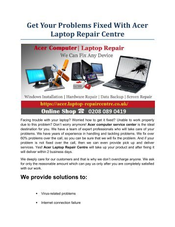Get Your Problems Fixed With Acer Laptop Repair Centre