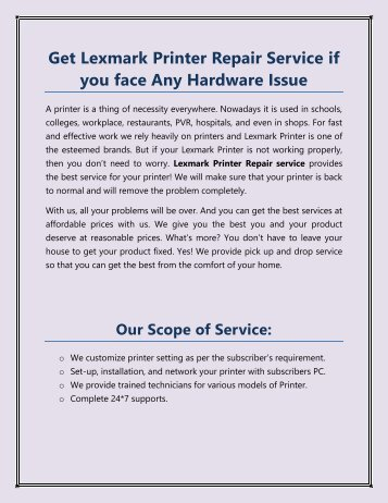 Get Lexmark Printer Repair Service if you face Any Hardware Issue