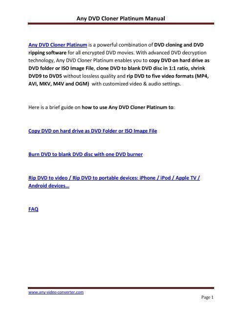 7  Any DVD Cloner Platinum Manual  - Any Video converter