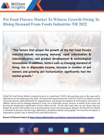 Pet Food Flavors Market To Witness Growth Owing To Rising Demand From Foods Industries Till 2022