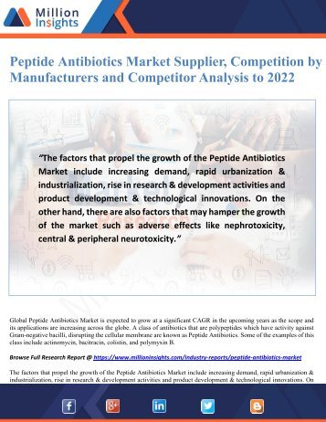 Peptide Antibiotics Market Supplier, Competition by Manufacturers and Competitor Analysis to 2022