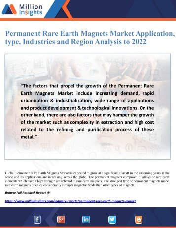 Permanent Rare Earth Magnets Market Application, type, Industries and Region Analysis to 2022