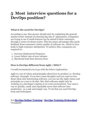 5 Most important interview questions for a DevOps Position