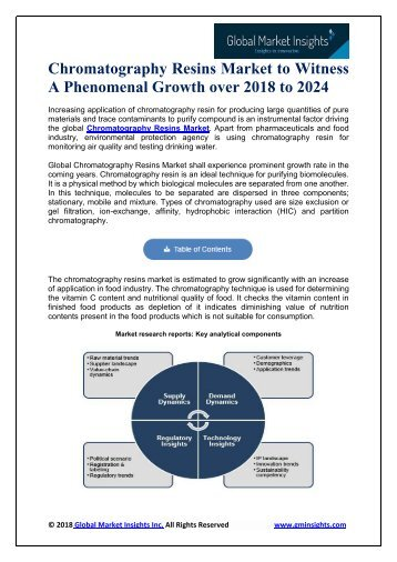 Global Chromatography Resins Market – Industry Analysis, Competitive Strategy during 2018-2024