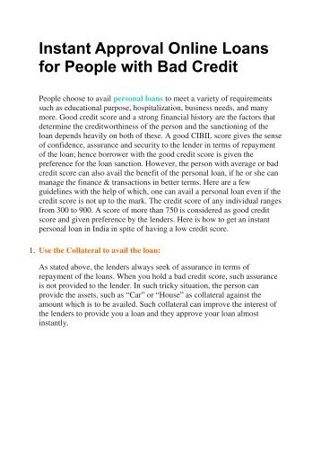 Instant Approval Online Loans for People with Bad Credit