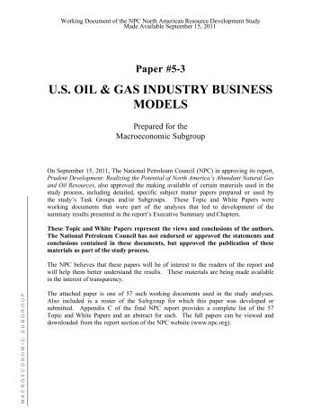 U.S. Oil & Gas Industry Business Models - The National Petroleum ...