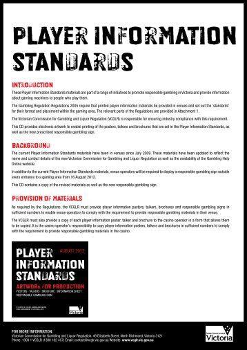 Player information standards - the VCGLR website