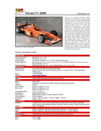 Ferrari F1-2000 - Motorsports Almanac