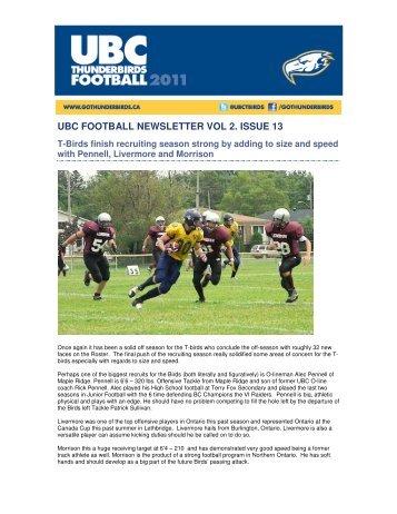UBC FOOTBALL NEWSLETTER VOL 2. ISSUE 13