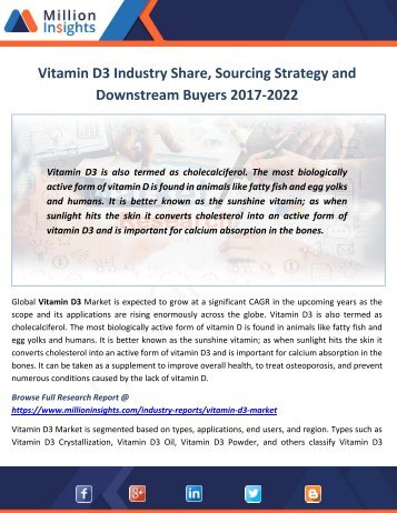 Vitamin D3 Industry Size (Volume and Value), Export, Import Analysis by Region 2017-2022