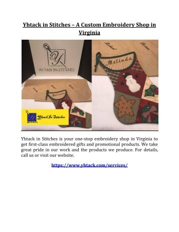 Yhtack in Stitches – A Custom Embroidery Shop in Virginia