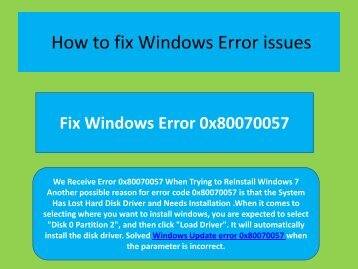 Resolve issues  1-800-658-7602 How to solve windows error code 0x80070057