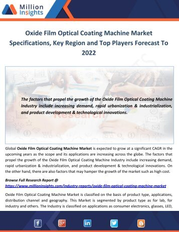 Oxide Film Optical Coating Machine Market Specifications, Key Region and Top Players Forecast To 2022