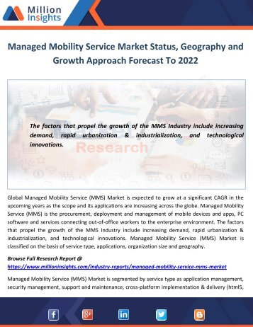Managed Mobility Service Market Status, Geography and Growth Approach Forecast To 2022