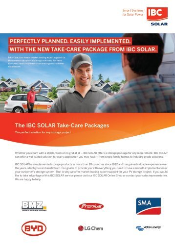 IBC SOLAR Take-Care Packages - The perfect solution for any storage project