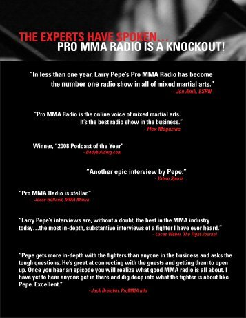 The experTs have spoken… - Pro MMA Radio Hosted By Larry Pepe